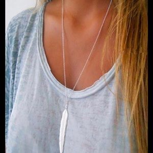 Long silver feather silver necklace New
